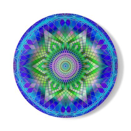 Decorative Plate Green Snowflake