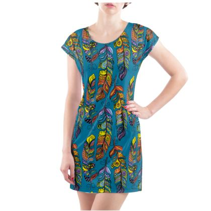Ladies Tunic Colourful Feathers