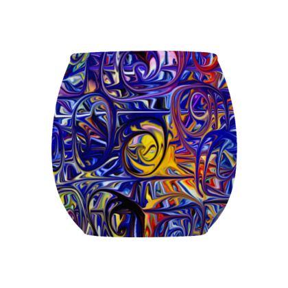Glass Tealight Holder Blue Spirals