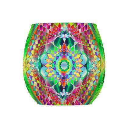 Glass Tealight Holder Green Mandala