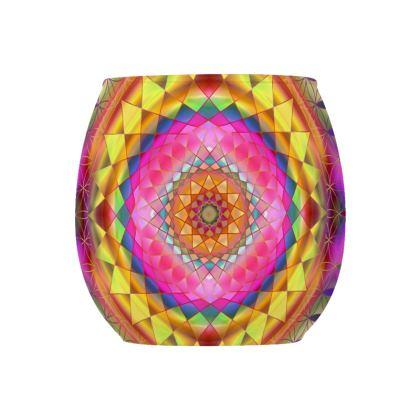 Glass Tealight Holder Gold Pink Mandala