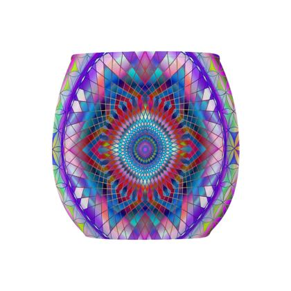 Glass Tealight Holder Purple Snowflake