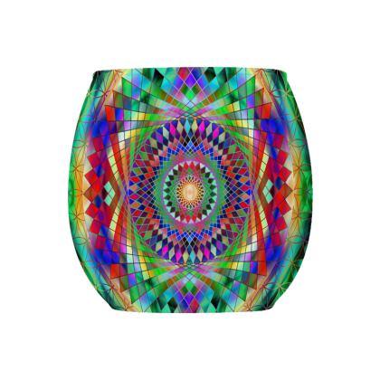 Glass Tealight Holder Rainbow Mandala