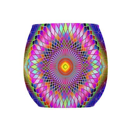 Glass Tealight Holder Pink Purple Mandala
