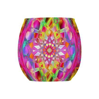 Glass Tealight Holder Pink Mandala