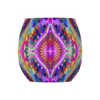 Glass Tealight Holder Purple Green Mandala