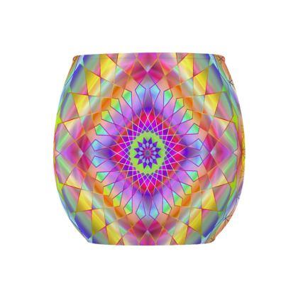 Glass Tealight Holder Yellow Pink Mandala