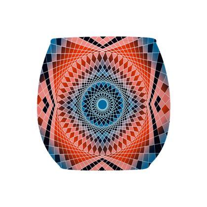 Glass Tealight Holder Blue Red Mandala