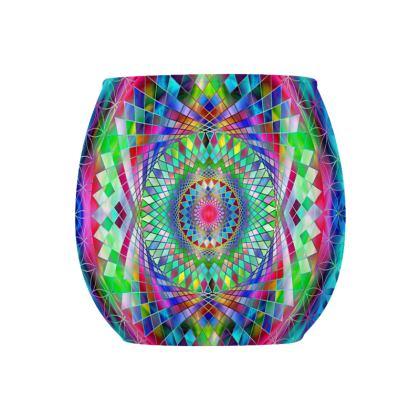 Glass Tealight Holder Blue Green Mandala
