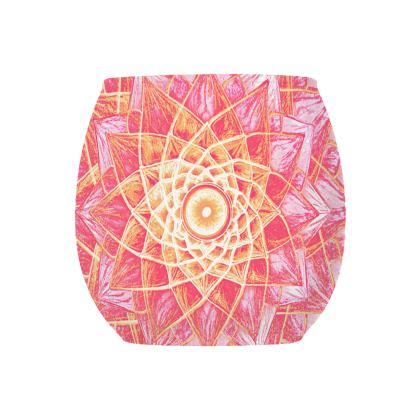 Glass Tealight Holder Mandala Red Flower