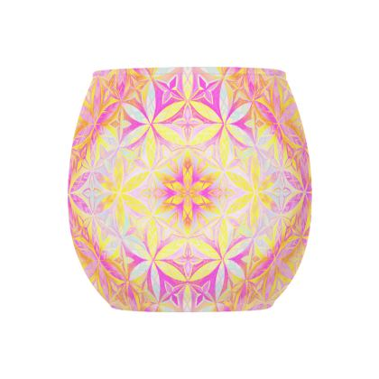 Glass Tealight Holder Kaleidoscope Flower Of Life
