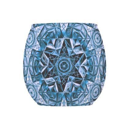 Glass Tealight Holder Blue Kaleidoscope