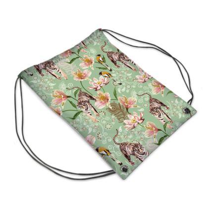 Waterproof Drawstring Sports bag with Bengal tiger pattern