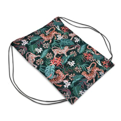 Waterproof Drawstring Sports Bag with Jungle Cats Design
