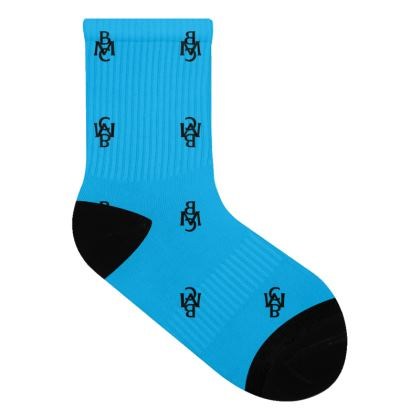 Blue Socks With Black BMC Monogram