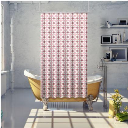 Shower Curtain Pink Rhomboids