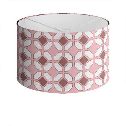 Drum Lamp Shade Pink Rhomboids
