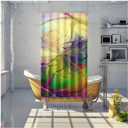 Shower Curtain Abstract Rainbow Painting