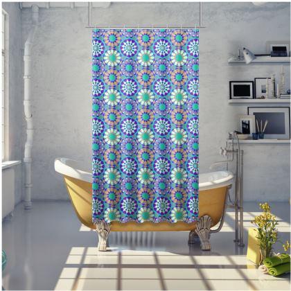 Shower Curtain Arabic Blue Pattern