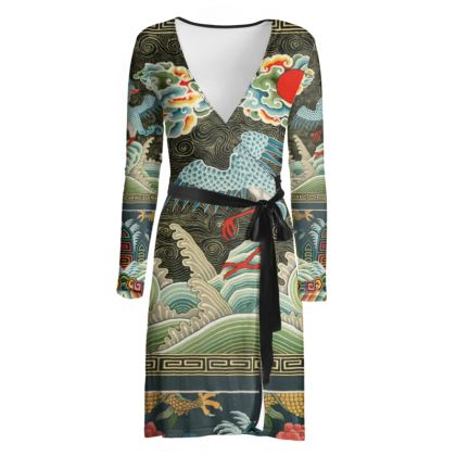 Vintage Chinese Crane Wrap Dress