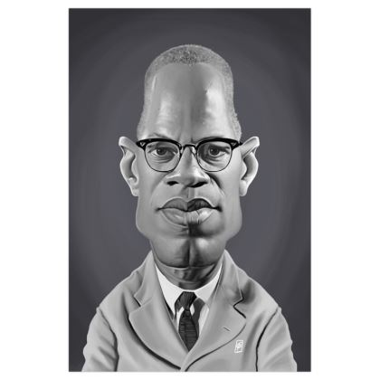 Malcolm X  Celebrity Caricature Art Print