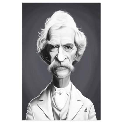 Mark Twain Celebrity Caricature Art Print