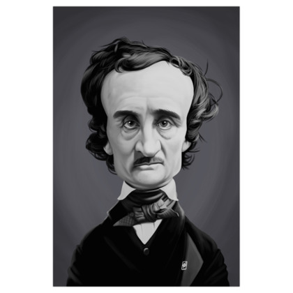Edgar Allan Poe Celebrity Caricature Art Print