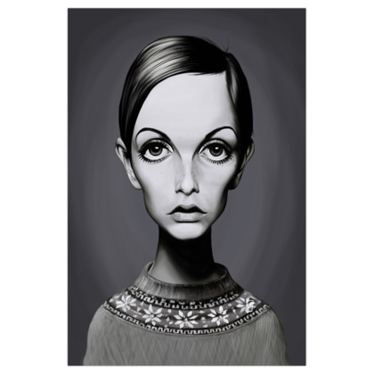Twiggy Celebrity Caricature Art Print