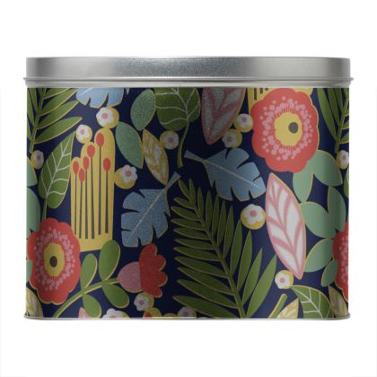 Paradise House Tropical Floral Round Tin