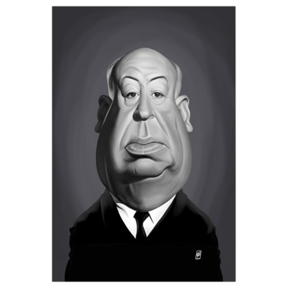 Alfred Hitchcock  Celebrity Caricature Art Print
