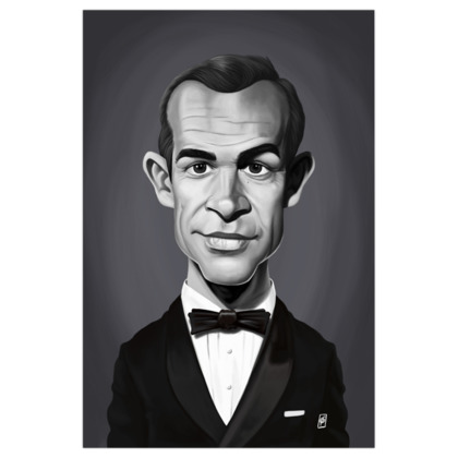 Sean Connery Celebrity Caricature Art Print