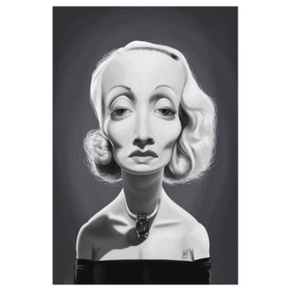 Marlene Dietrich Celebrity Caricature Art Print