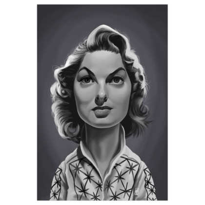 Ingrid Bergman  Celebrity Caricature Art Print