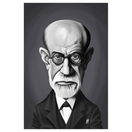 Sigmund Freud  Celebrity Caricature Art Print