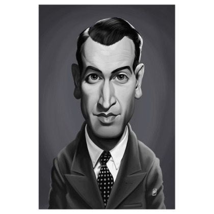 James Stewart Celebrity Caricature Art Print