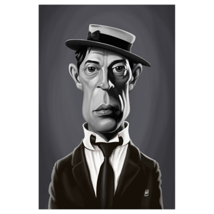 Buster Keaton Celebrity Caricature Art Print