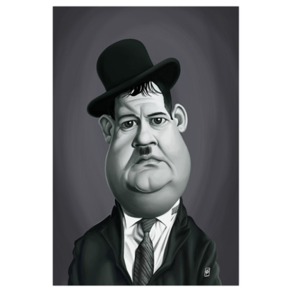 Oliver Hardy Celebrity Caricature Art Print