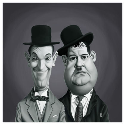 Laurel and Hardy Celebrity Caricature Art Print