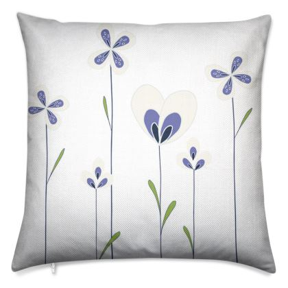 Abstract Blooms Collection - Blue and White - Luxury Cushion