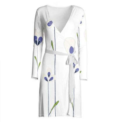 Abstract Blooms Collection - Blue and White - Luxury Wrap