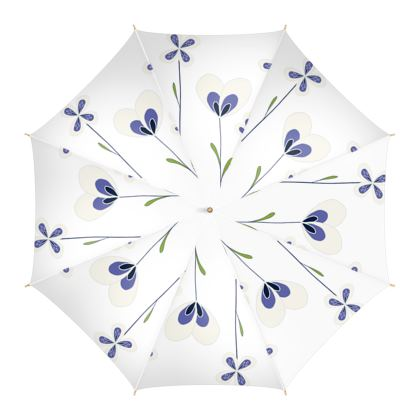 Abstract Blooms Collection - Blue and White - Luxury Umbrella