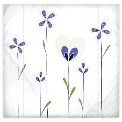 Abstract Blooms Collection - Blue and White - Duvet and Pillow Set