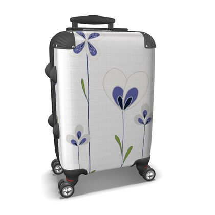 Abstract Blooms Collection - Blue and White - Luxury Suitcase