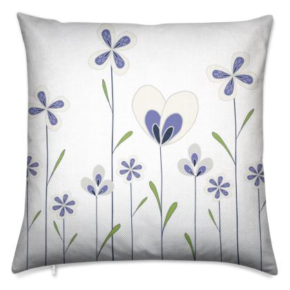 Abstract Blooms Collection - Blue, Green and White - Luxury Cushion