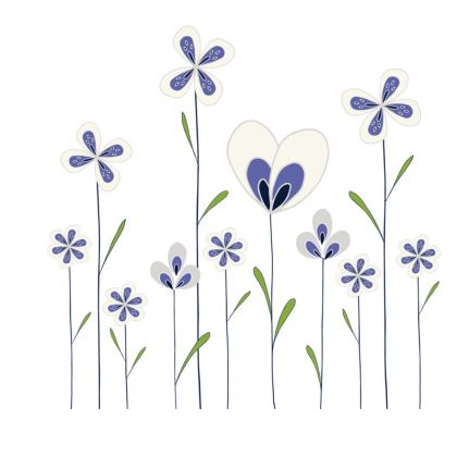 Abstract Blooms Collection - Blue, Green and White - Luxury Slip Dress