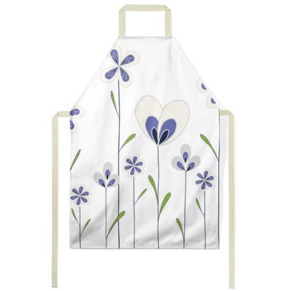 Abstract Blooms Collection - Blue, Green and White - Luxury Apron