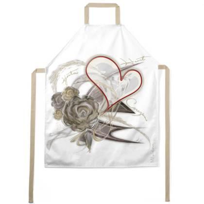 Apron - Förkläde - Brown Heart Flower white