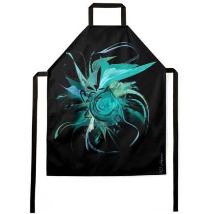 Apron - Förkläde - Turquoise Flower Black