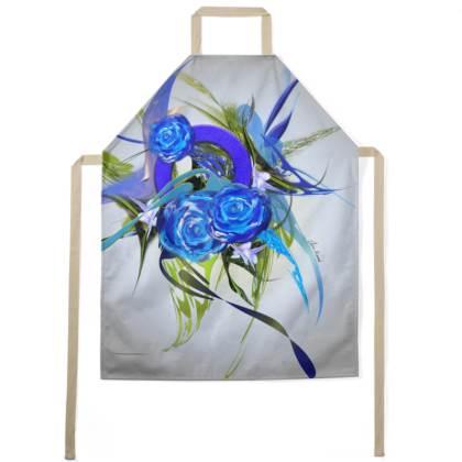 Apron - Förkläde - Blue Flower Grey