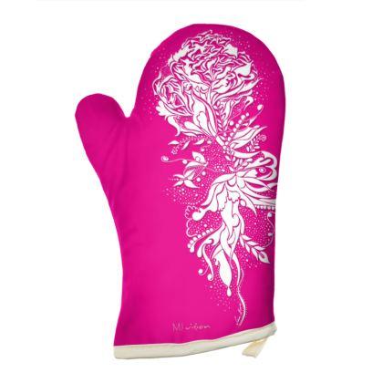 Oven Glove - Grytvante - Ink Flower pink